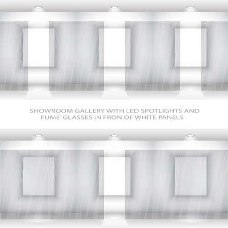 puertas de cristal: Muro de elegante sala de exposici�n contempor�neo con apertura ahumado vidrieras de paneles blancos Vectores