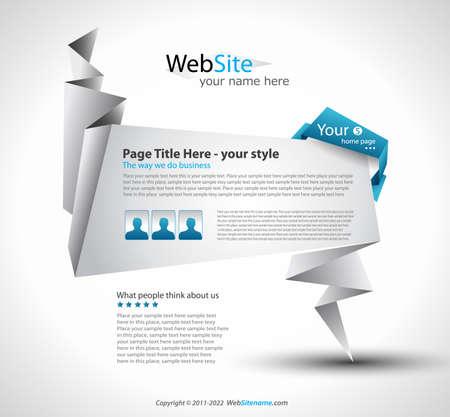 Origami Website - Elegant Design for Business Presentations.  Stock Vector - 9662585
