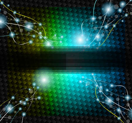 carbon fibre: Abstract Rainbow Background with lightnings over a carbon fiber backgrounds