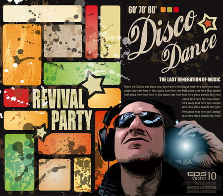 Retro' revival disco party flyer or poster for musical event Stock Vector - 9662596