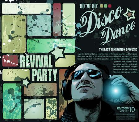 Retro 'dépliant renaissance disco ou une affiche pour l'événement musical