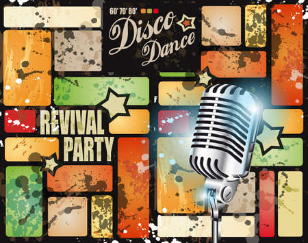 disk jockey: Retro revival disco party flyer or poster for musical event