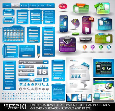 Web Stuff Extreme Collection: 3 Full websites, hundreds of icons, headers, footers, log-in forms, paper tag with transparent shadow, stickers, business cards and so on Stock Vector - 9662579