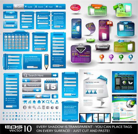 Web Stuff Extreme collectie: 3 volledige websites, honderden pictogrammen, kopteksten, voetteksten, log-in formulieren, papier tag met transparante schaduw, stickers, business cards, enzovoort