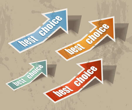 Distressed arrow best choice retr� style bubbles sticker. Shadows are transparent Vector