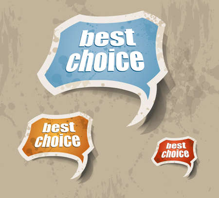 Distressed cloud best choice retr� style bubbles sticker. Shadows are transparent Vector