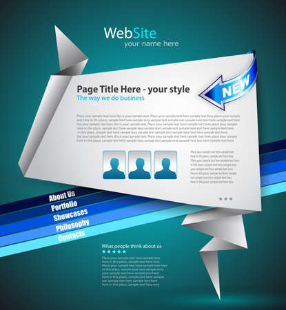 Origami Website - Elegant Design for Business Presentations. Every Shadow is transparent Vector