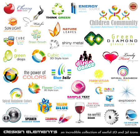 gree: Mega collection of 2D and 3D quality design elements with a lot of variety ideal for business flyer and presentation,