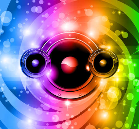 Abstract disco music background for nightlife event flyer or party poster with rainbow colurs! Stock Vector - 9717388