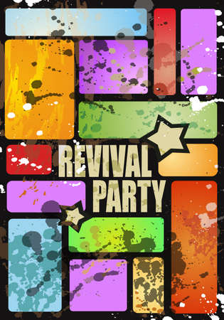 Retro revival disco party flyer or poster for musical event Vector