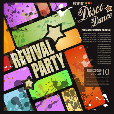 disco party: Retro 'revival disco party flyer of poster voor muzikale evenement Stock Illustratie