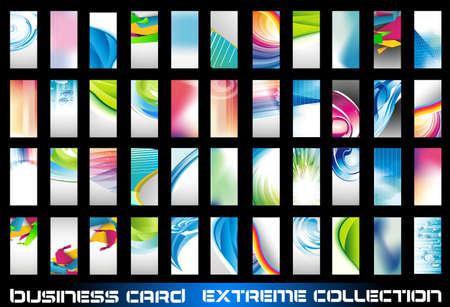 Gran colección de tarjetas de negocios corporativos de fondo que se utiliza para la volantes de distribución o cartel. Gran variedad, formas y colores. Ilustración de vector