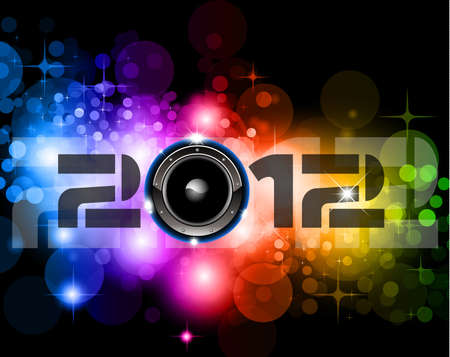 suggestive: Suggestive 2012 New Year Celebration Background with Glitter and Rainbow Colours ideal for nightlife music event posters.