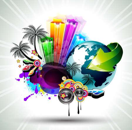 retro disco: Atractivo fondo de volante de Disco con un mont�n de globo de icludiind 3D de elementos de dise�o de carteles de evento de m�sica Latina internacional.
