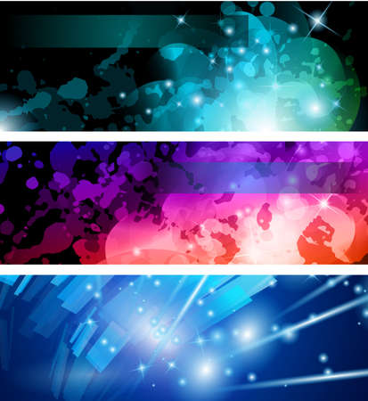 Abstract Business Card Collection: Flow of lights header backgrounds with abstract motive and rainbow colurs Stock Vector - 9888559
