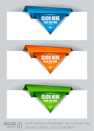 Paper origami arrow paper tags with transparent shadows. You can place it on every surface! Vector