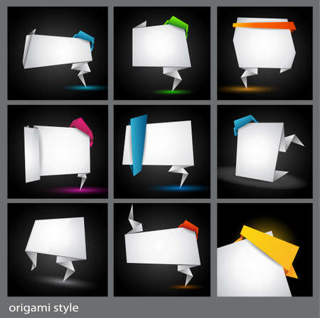 Origami style paper panel for advertising or busines product promotion or alternative websites. All shadows are transparent. Stock Vector - 9888563
