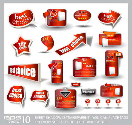 Big set of red style sale and advertisement arrows, bubble speech elements, stickers, web panels, promotional label and pins. All shadows are transparent and ready to be placed on every surface. Vector