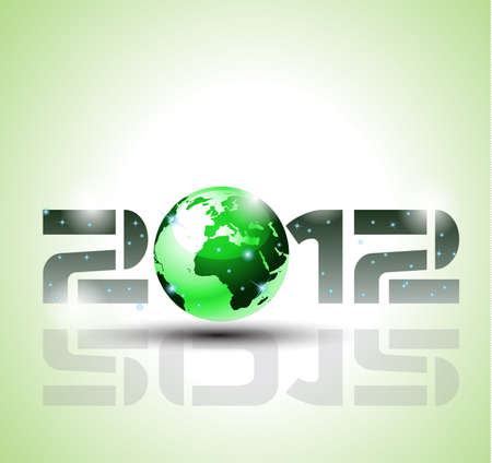 High tech and ecology green style 2012 happy new year celebration background for your posters, flyers and business presentations. Vector