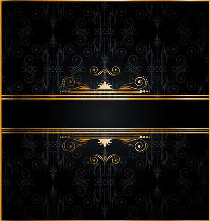 Elegant seamless wallpaper with golden fine decoration and place for your text. Ideal to use for classic invitation flayer or card. Stock Vector - 9888572