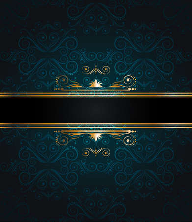 flayer: Elegant seamless wallpaper with golden fine decoration and place for your text. Ideal to use for classic invitation flayer or card. Illustration