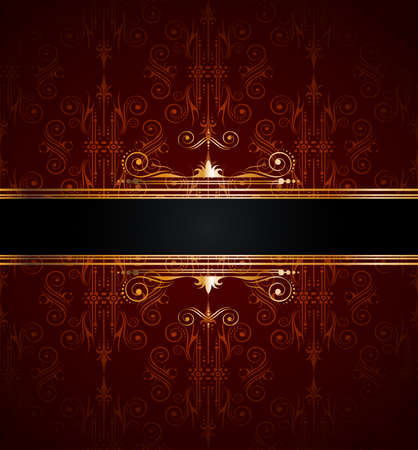 Elegant seamless wallpaper with golden fine decoration and place for your text. Ideal to use for classic invitation flayer or card. Stock Vector - 9888577