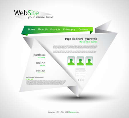 Origami Website - Elegant Design for Business Presentations. Shadows are  transparent Stock Vector - 9888570