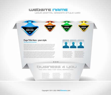 Origami Website - Elegant Design for Business Presentations. Shadows are  transparent Vector