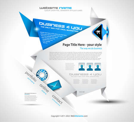 website header: Origami Website - Elegant Design for Business Presentations. Template with a lot of design elements. Every Shadow is transparent Illustration