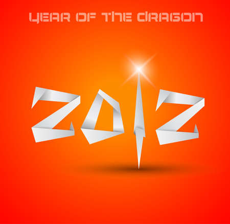 2012 Year of the Dragon backgroud. Original origami style 2012 for new year celebration posters, brochures or flyers. Vector