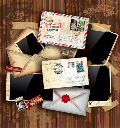 postcard background: Vintage composition with old style distressed postage design elements and antique photo frames plus some post stickers. Background is wood.