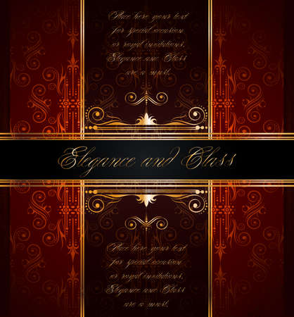 Elegant seamless wallpaper with golden fine decoration and place for your text. Ideal to use for classic invitation flayer or card. Stock Vector - 9888590
