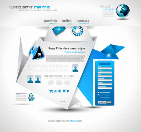Origami Website - Elegant Design for Business Presentations. Template with a lot of design elements. Every Shadow is transparent Stock Vector - 9888593