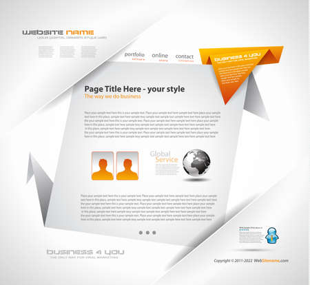 Origami Website - Elegant Design for Business Presentations. Template with a lot of design elements. Every Shadow is transparent Stock Vector - 9888597