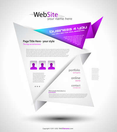 Origami Website - Elegant Design for Business Presentations. Template with a lot of design elements. Every Shadow is transparent Stock Vector - 9888587