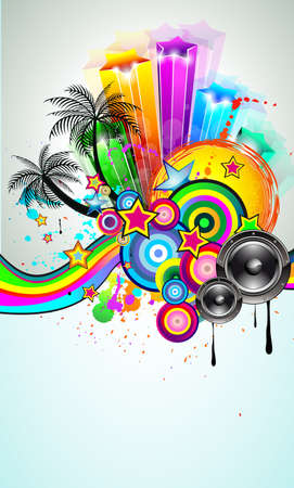 Tropical Event Disco Flyer for Music Poster, Night Parites or Latin live concert wallpapers. Stock Vector - 9888600