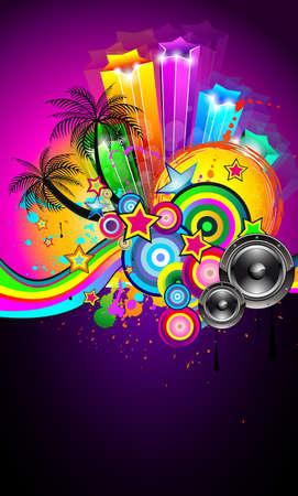 fiestas discoteca: Fondos de pantalla tropicales evento Disco Volante para cartel de m�sica, Parites de noche o Latina concierto en vivo. Vectores
