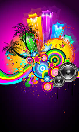 Tropical Event Disco Flyer for Music Poster, Night Parites or Latin live concert wallpapers. Vector