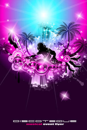 Suggestive musical themed discoteque  flyer for night party or disk jokey exhibitions or console challenge event. Stock Vector - 9888605