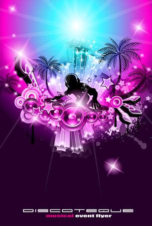 Volante sugerente discoteca con temas musicales para exposiciones primeras parte o disco de noche o evento de desafío de consola.