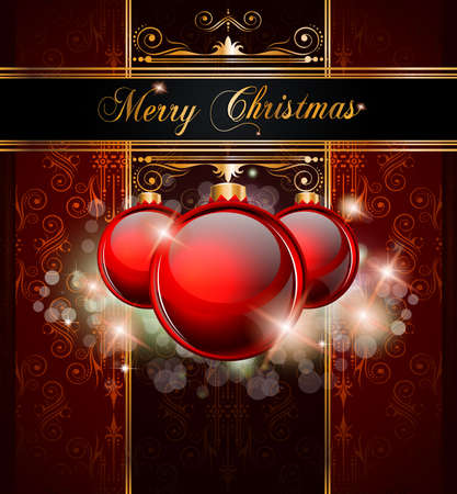 ball lights: Elegant Merry Christmas and Happy New Year background with vintage seamless wallpaper and glossy baubles.