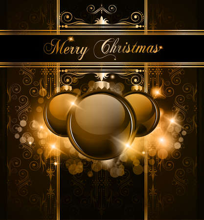 luxury party: Elegant Merry Christmas and Happy New Year background with vintage seamless wallpaper and glossy baubles.