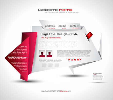 Origami Website - Elegant Design for Business Presentations. Template with a lot of design elements. Every Shadow is transparent Stock Vector - 9888609