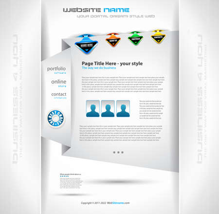 Origami Website - Elegant Design for Business Presentations. Template with a lot of design elements. Every Shadow is transparent Vector