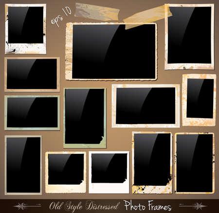 historische: Collectie van Vintage Photo Frames met antieke Used Look. Achter zwarte vierkant backgraound zijn compleet met druppels en kleuren met een unieke oude stijl. Stock Illustratie