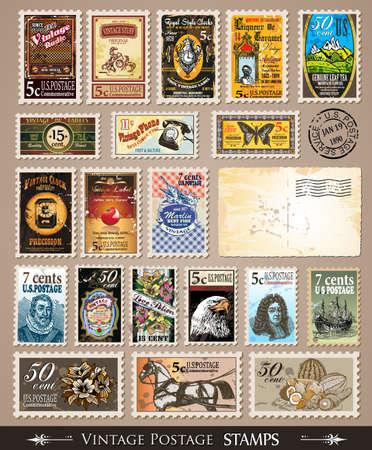 Colección de sellos postales Vintage con diversos temas y precios. Se incluyen vacíos angustiados postales y sellos de goma