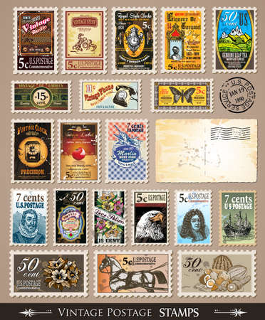 Collection of Vintage Postage Stamps with Various Themes and prices. Empty  distressed postcards and rubber stamps are included Vector