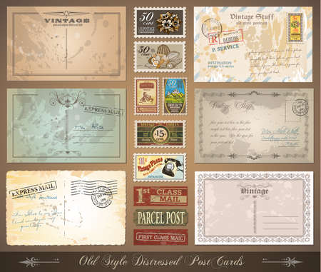 Old style distressed postcards with a lot of post stamps with vintage designs. Rubber stamp and first class mail sticker included. Stock Vector - 9888615