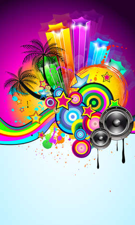 Tropical Event Disco Flyer for Music Poster, Night Parites or Latin live concert wallpapers. Stock Vector - 9935600