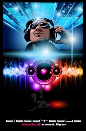 entertainment event: Disco Music Flyer with Disk Jockey Shape and Rainbow lights. Ready for Poster of night event.